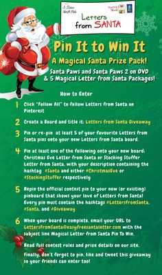 #PinItToWinIt Ends 12/22/12 - Check the rules, re-pin, and one lucky winner will win a Santa Paws Prize Pack & 5 Magical Letter from Santa Packages. All participants will receive a coupon code for a free Magical Letter from Santa Package with every purchase. #LettersFromSanta #Kids #Baby #Moms  #Parents #Christmas #Santa #Giveaway #Gifts #Holidays #PinItToWinIt