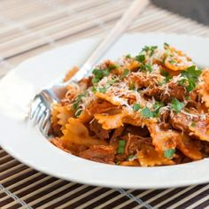 Slow Cooked Pork Ragu with Farfalle. A great meal for busy moms, for a busy summer!