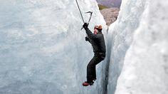 Bert makes his way up a 200-foot ice crevice on Godwin Glacier.