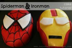 Dragonfly Designs: Spiderman and Ironman Cakes ~ a tutorial (HoH124)