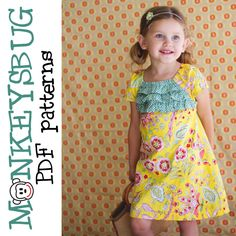 Monkeysbug PDF Sewing Pattern Airy Ruffled A-Line Dress