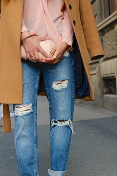 rings, pastels and torn jeans