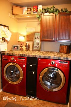 Add a counter - what a great idea. #laundry #diy #organization Close to the set up in our laundry room. Won't work with the top loading washer though.