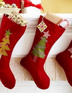 Stockings don't have to be elaborate patchwork. For a simple option, embellish a basic sock pattern with fusible shapes.