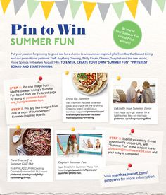 Check out the Martha Stewart's Pin to Win summer contest. Start by pinning a Kraft Anything Dressing recipe for a chance to win summer inspired gifts from Martha Stewart Living.