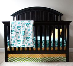 Crib bedding  Turquoise yellow green with owls by GiggleSixBaby,