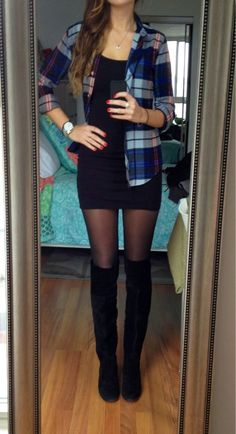 Plaid long sleeve button ups with long sleeve black tight dress