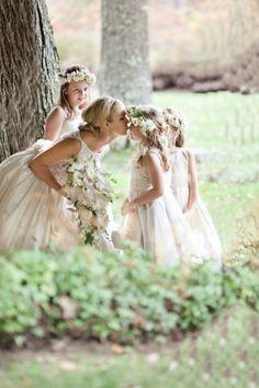 So precious, bride with her flower girls