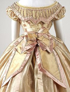 "Gold silk dress (back detail, evening bodice), French, ca. 1865. Label: ""Mme. Marguerite Robes, 6 rue de Miromenil, Paris"""