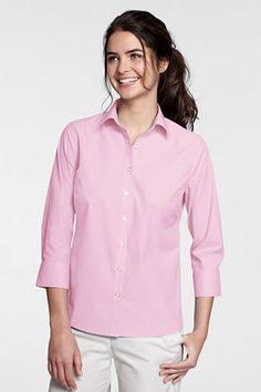 Women's 3/4-sleeve No Iron Stretch Shirt from Lands' End
