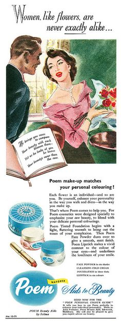 Women, like flowers are never exactly alike... 1951 ad for Poem by Icilma. #vintage #beauty #cosmetics #1950s