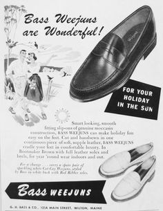 Publicité pour les mocassins Bass #mode #homme #chaussures #mocassins #vintage #annees50 #mens #fashion #shoes #smart #moccasin #weejuns #bass #leather #bootmaker #50s