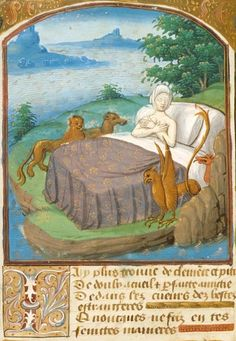 """British Library, Harley 4867, detail of f. 74v (""""Miniature of Adriane [Ariadne?], asleep in bed on an island [presumably Naxos], surrounded by a lion, a wolf, a griffin and a dragon, with an illuminated initial 'J'(ay plus trouvé de clemence et pitié)."""") Ovid, Heroides. France (Paris?), after 1493."""