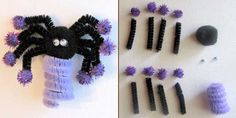 Halloween Spider Finger Puppet Craft made with pipe cleaners
