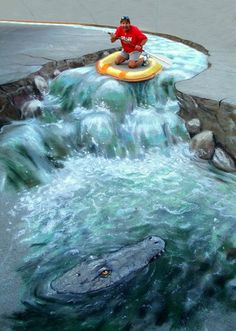 Rapids / amazing sidewalk chalk art.
