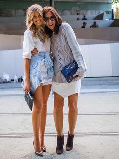oversized sweater + white skirt