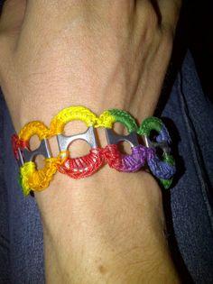 Crocheted soda tab bracelet