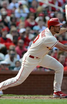 Waino hits a one run single during the third inning against the Brewers.  Cards won the game 8-0.  4-13-13