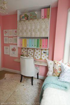 Craft room in Sherwin Williams Hopeful Pink