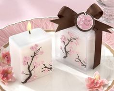 cherry blossom candles, cherry blossom wedding favors, cherry blossom wedding decorations