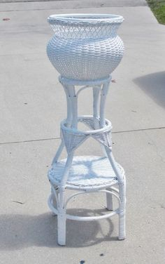 Hollywood Regency mid century wicker rattan flower pot and plant stand