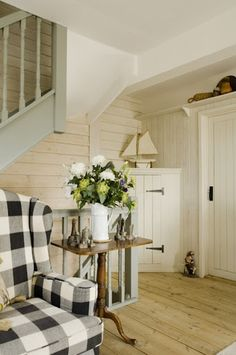 love the white in various textures and the contrast of the great buffalo check chair