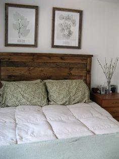 $75 Reclaimed wood look Queen headboard. Beginner DIY.  Fantastic.
