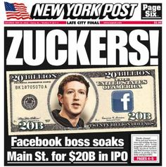 Facebook Investors Are 'ZUCKERS!' (Says Murdoch Tabloid) | Now I am confident, that Murdoch employs only chimps, and not the brightest ones :)