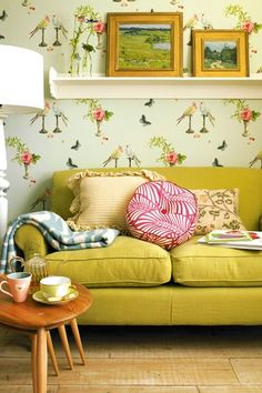 Whimsical wallpaper gives this cozy room personality to spare.