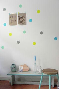 Chez Chouke: masking tape wall dots child room, polka dots, kid rooms, babies nursery, diy wall decor, tapes, interior deco, mask tape, masking tape