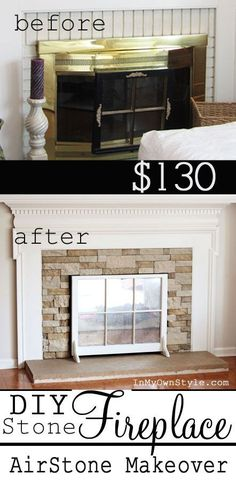 decor, idea, fireplac makeov, old windows, fireplace screens, hous, diy, stone fireplaces, fireplace makeovers