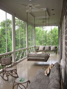 I love the seating on this porch  LOVE WHERE YOU LIVE: A Ken Tate Home -- in Houston