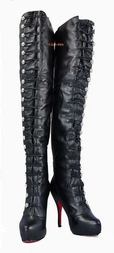 HOT, HOT, HOT!!!!!!!!  Christian Louboutin Tall Button-Up Otk Boots Black $139 sale!