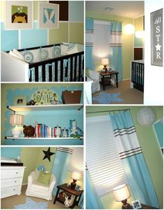 So many cute features in this #turquoise and #green #nursery.