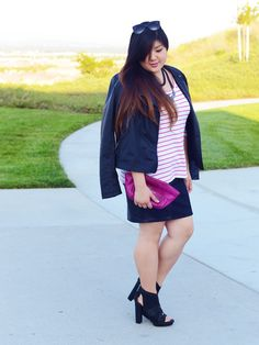 Navy and pink - Curvy Girl Chic