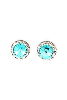 // #Teal #Ice #Cerulean #Crystal #Diamond #Button #Earrings // The color is Amazing!