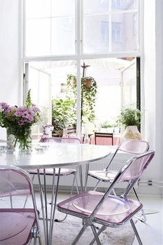 Lavender lucite folding chairs - be still my heart