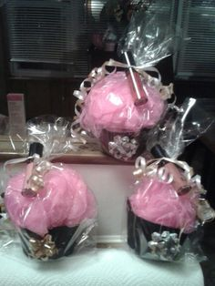 This is such a cute idea! Lipgloss Mary Kay cupcake shower puffs.. great gifts $15 each. Can also be used as hostess gifts. :-)