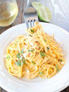 Gluten-Free Mexican Corn Pasta with Chipotle Alfredo. So delish! http://www.ivillage.com/surprisingly-delicious-gluten-free-pasta-dishes/3-a-557002