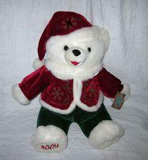 Dan Dee Santa Bear Holiday Time Snowflake Teddy Plush Elf Red Suit 2009 CUTE