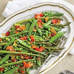 Asparagus with Red Pepper Chowchow | Use our foolproof blanching method below and your veggies will look as good as they taste. Serve leftover Red Pepper Chowchow with cheese and crackers, ham sandwiches, or burgers. | SouthernLiving.com