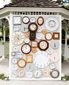 vintage clocks, ceremony backdrop, clock wall, wedding altars, wedding backdrops, photo booths, wall clocks, photo backdrops, unique weddings