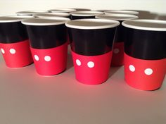 just do black cups and red construction papers with glued on white poka dots