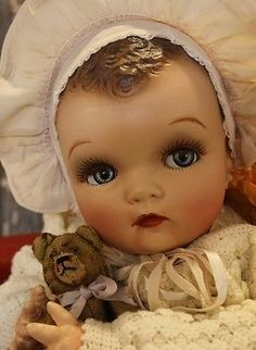 """22"""" Flirty Eyes, Composition Cloth vintage old antique Baby Doll. My friend's granddaughter's eyes look like this doll's eyes!"""