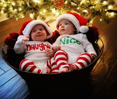 How funny for twin's Christmas outifts. There is always a naughty twin and a nice one...I know because I am the NICE twin!