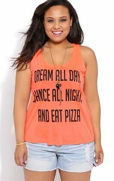 Deb Shop Plus Size Racerback Tank Top with Dream Dance Eat Screen $12.00