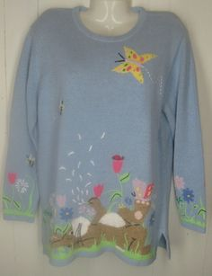 New Quacker Factory Blue Rabbit Bunny Flower Tunic Sweater Easter Size M | eBay $59.99