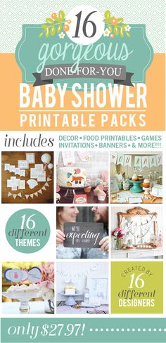 On sale this week only!! Grab this baby shower bundle for only $19.97 (it values over $300!) This is the mother load of all things baby shower related!! Don't miss out! #babyshower #printables #sale