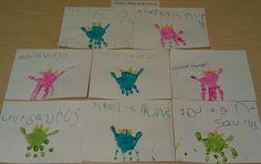 Handprint dinosaurs