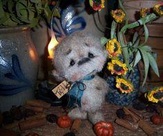 """Primitive Fuzzy Teddy Bear 4"""" Doll Vtg Patti's Ratties Cub Artist Mini OOAK"""